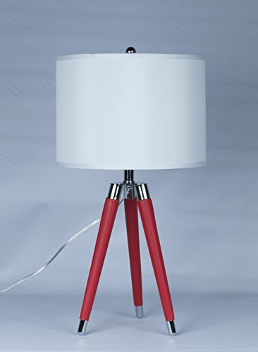 Urbanest Green Mid Century Modern Tripod Leather & Chrome Table Lamp with Drum Hardback - Lamp Saddle Western