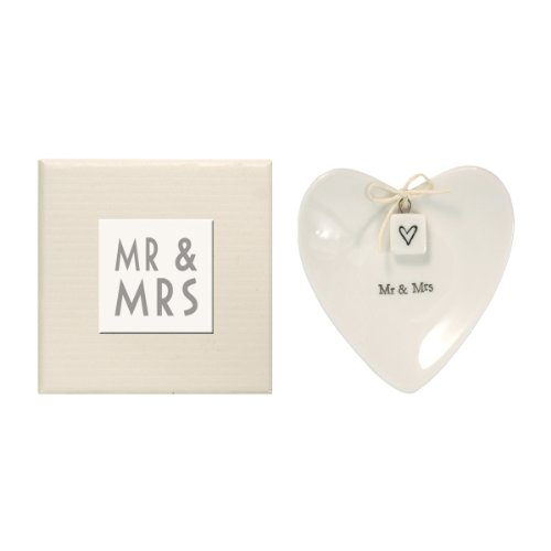 East of India Mr & Mrs Heart-Shaped Ring Dish in Gift Box, Porcelain - Heart Ring Box