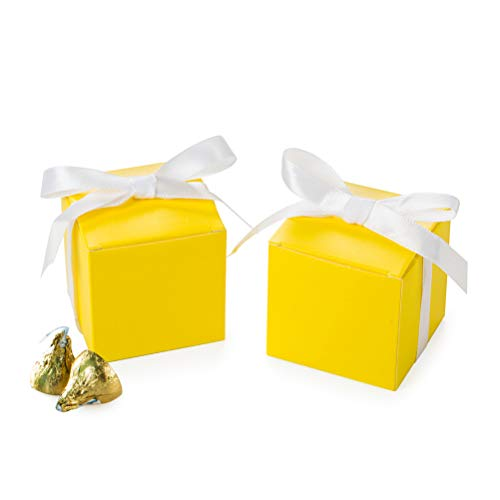 AWELL Yellow Gift Candy Box Bulk 2x2x2 inches with White Ribbon Party Favor Box,Pack of 50