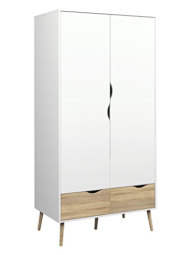 Tvilum 7539649ak Diana 2 Drawer and and 2 Door Wardrobe, White/Oak Structure