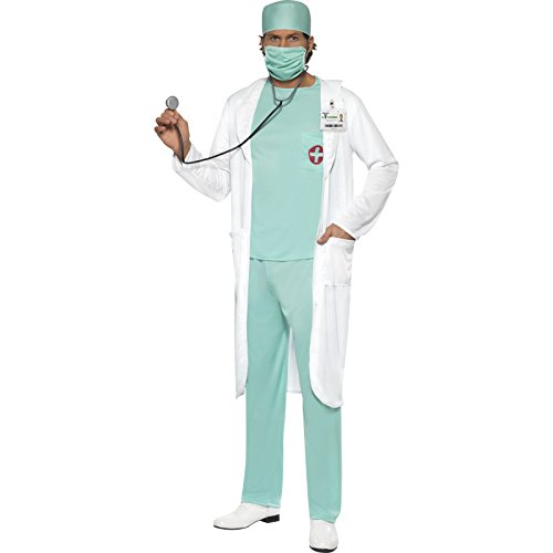 Smiffy's Men's Doctor Costume, Top, pants, Hat, Mask, Clear Name Tag and Coat, Accident and Emergency, Serious Fun, Size L, 39482 (Woman Doctor Costume)