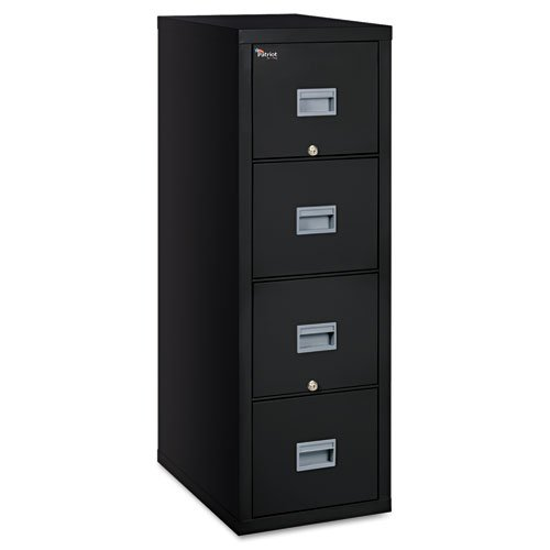 Fireking Patriot Insulated 4-Drawer Fire File, 17-3/4w x 25d x 52-3/4h, Black - BMC-FIR 4P1825CBL