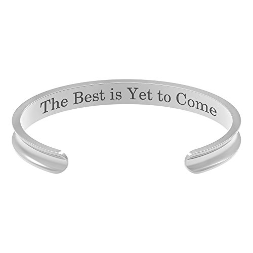 Feramox Hair Tie Bracelet Stainless Steel Grooved Cuff Bangle for Women Girls Engraved Inspirational Gift