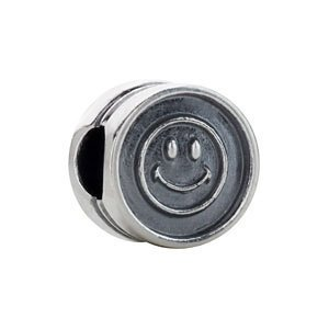 Sterling Silver Kera Smiley Face Cylinder Bead