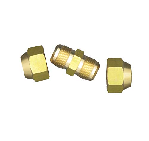 Air Conditioning Copper Pipe Extension for Joint Double Connector Intermediate Connection Head Free Welding Butt Copper Tube Diameter 6-19mm Flare Nut (3/4