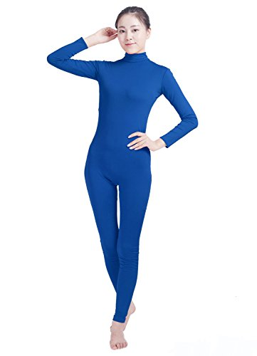 Spandex Mock Turtleneck - Ensnovo Womens Turtleneck Spandex Long Sleeve Front Zipper Footless Unitard Royal Blue,M