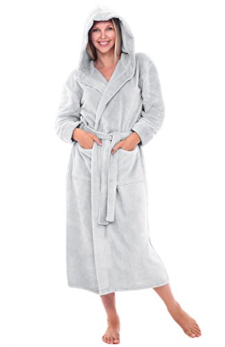 Alexander Del Rossa Womens Plush Fleece Robe with Hood, 3X 4X Light Grey (A0116LGR4X)