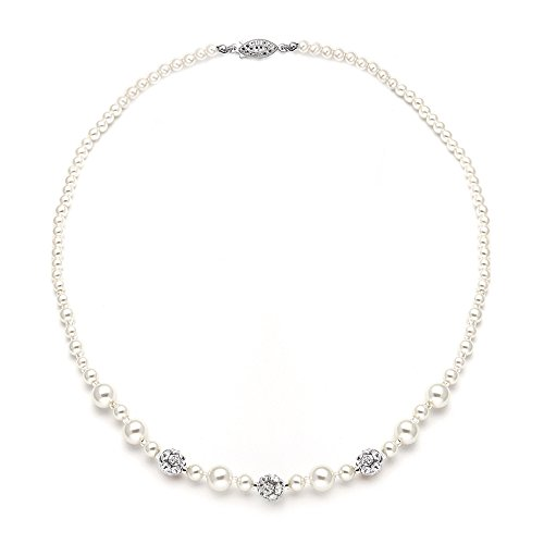 Mariell Ivory Pearl & Swarovski Rhinestone Crystal Wedding Tennis Necklace for Women, Jewelry for - Ivory Pearl Antique