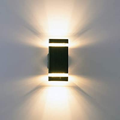 LPINYE LED Square Up and Down Wall Light, 16W 3000K Warm White, 1440lm, Outdoor Waterproof LED Wall Lamp Suitable for Garages, Gardens, Corridors, Courtyards, Balconies, Walkways - 1.STRONG SENSE of DESIGN - Unique upper and lower illuminating design, designed with glass cover at both ends, providing unique effects when lighting, transparent acrylic strip design makes the illuminating effect more dispersed. 2. BRIGHTNESS is VERY BRIGHT - This wall lamp is 16W, 1440lm, the brightness is very bright, using high quality LED lamp beads, eliminating the trouble of replacing the bulb. 3. HIGH TRANSMTTANCE TEMPERED GLASS COVER -The tempered glass is more resistant than ordinary glass, and the transparent cover has better illuminating effect. - patio, outdoor-lights, outdoor-decor - 31UNG16NLJL. SS400  -