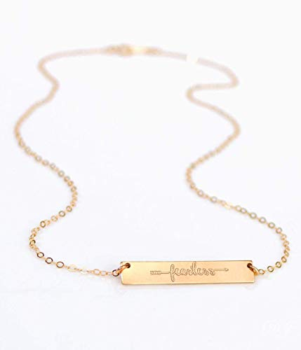 Fearless Necklace, Gold Filled or Sterling Silver Bar Necklace, inspiration Necklace, Engraving Both Sides