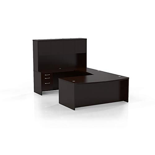 Safco Products AT4LDC Aberdeen Series Typical 4 U-Shaped Desk, Mocha Laminate