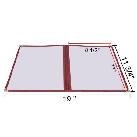 PVC Vinyl Cafe Menu Cover Folder Double 8-1/2''x11'' - 4 Page view -30pcs