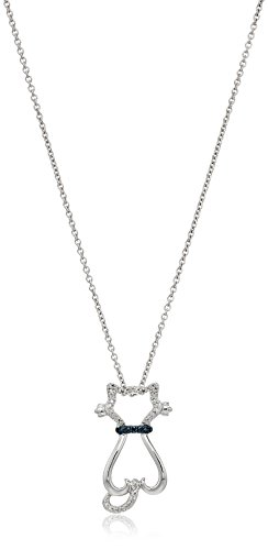 Sterling Silver Blue and White Diamond Accent Cat Pendant Necklace, 18