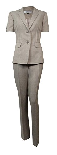 Tahari by Arthur S. Levine Women's Missy Short Sleeve Melange Pant Suit, Sand, 6 by Tahari by Arthur S. Levine