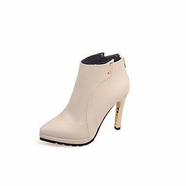 UK4 Botas CN36 Primavera Botas Rojo Zapatos De RTRY Altas Para Stiletto Básica Negro EU36 Mujer Pu Señaló Beige Talón De Casual Toe Otoño Clavos Rodilla US6 Bomba FqpIO