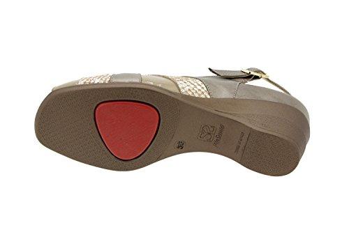 Calzado mujer confort de piel Piesanto 4153 sandalia plantilla extraíble zapato cómodo ancho Taupe