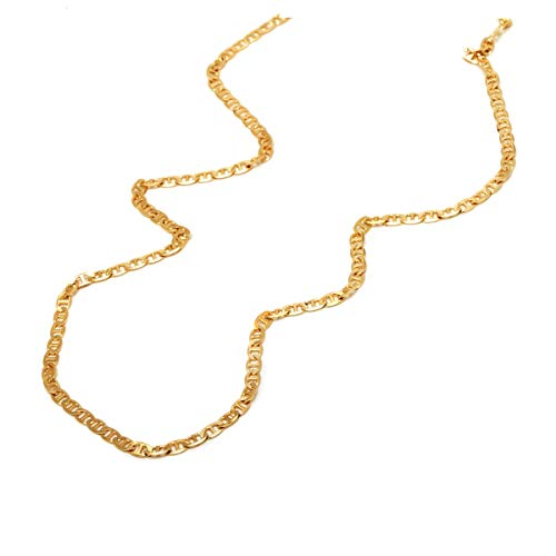 14K Yellow Gold 3.5mm Mariner/Marina Link Chain Necklace- Multiple Lengths Available ()