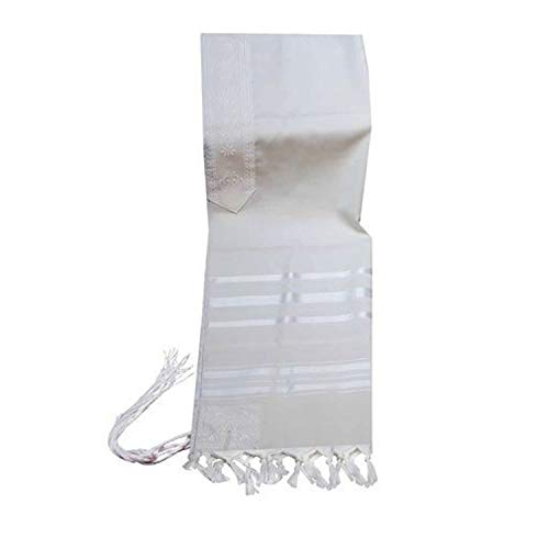 100% Wool Tallit Prayer Shawl in White and White Stripes Size 24