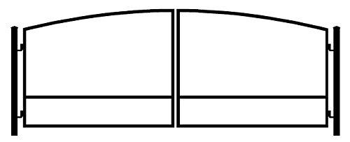 StandardGates Metal Wood Security Gates - Wrought Iron Driveway Gate Kit - Black Arch ()