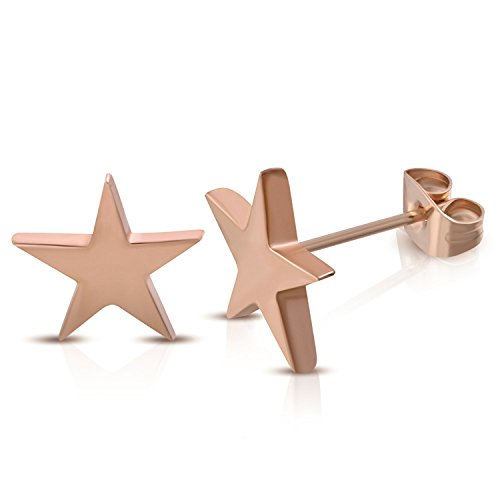 (7 MM Rose Gold Color Plated Stainless Steel Shining Shooting Star Stud Post Earrings)
