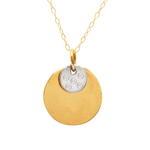 """14k Two-Tone Diamond Accent Circle with Small Circle Pendant Necklace, 18"""""""