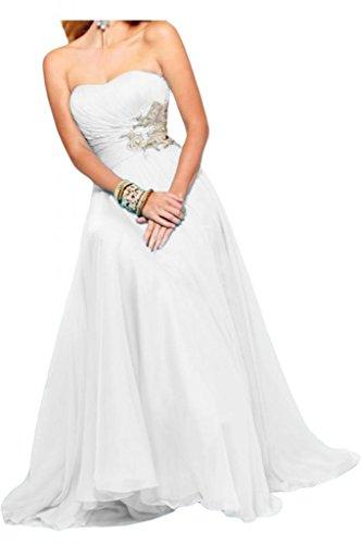 Toscana sposa incantevoli abiti da sera senza spalline in Chiffon lungo damigella d'onore sfera Festkleider bianco 40