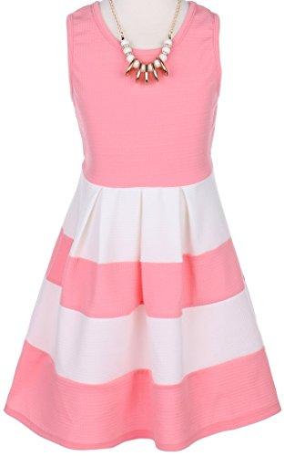 Pink Girls Skimmer (Little Girl Sleeveless Girl Dress Striped Two Tone Necklace Easter Party Flower Girl Dress (20JK77S) Pink 4)
