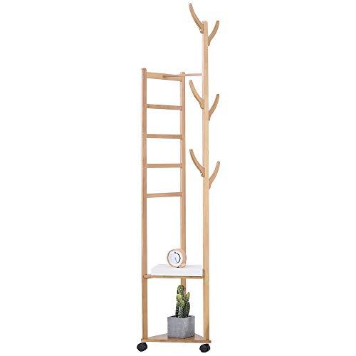 Amazon.com: JIAYING Perchero de bambú para ropa, sombrero ...