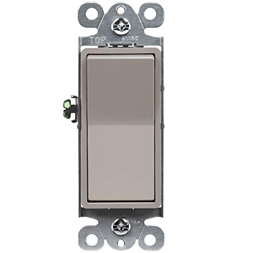 ENERLITES Elite Series Decorator Rocker Light Switch, 15A 120V/277V, Single Pole, 3 Wire, Grounding Screw, Residential Grade, UL Listed, 91150-NK, Nickel Color