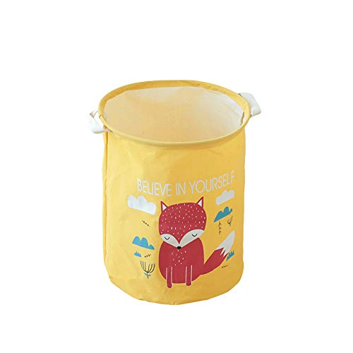 - HEART SPEAKER Cartoon Animal Cotton Linen Laundry Clothes Storage Bucket Sundries Organizer