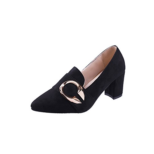 Female Female Tide Heel Black HGTYU Heeled Thirty Six A 7Cm Female Suede Shoes Shoes Mouth All Match Thick High Age qvqgctwF