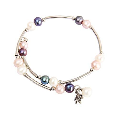AIM Jewelry Cultured Genuine Freshwater Pearls Bracelet, Adjustable Bangle Wrap Bracelet, Beaded Pearl Strand Bracelet for Women and Girls in White/Black/Purple Pearl