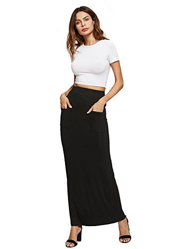 MAKEMECHIC Women's Solid Basic Below Knee Stretchy Pencil Skirt Black-Pocket S (Black Pencil Skirt Pockets)