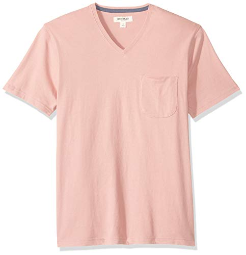 - Goodthreads Men's Short-Sleeve Sueded Jersey V-Neck Pocket T-Shirt, Pink, XX-Large