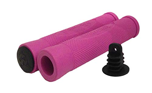 Team Dogz Embossed Flange-Less Handlebar Grips, Scooter Grips (Pink)
