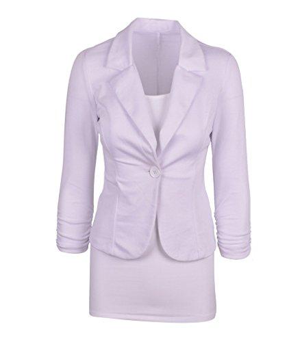 Vogue Classique Veste Couleur Femme Costume Uni Blanc Bouton Bigood HxqwTF