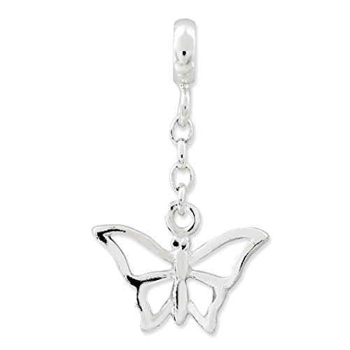 ICE CARATS 925 Sterling Silver Butterfly 1/2in Dangle Enhancer Necklace Pendant Charm Animal Fine Jewelry Ideal Gifts For Women Gift Set From Heart by ICE CARATS (Image #1)