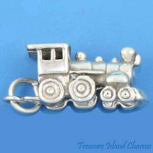 Harissa Narrow Gauge Train Engine Locomotive 3D 925 Solid Sterling Silver Charm Crafting, Bracelet Necklace Jewelry Findings Jewelry Making Accessory ()