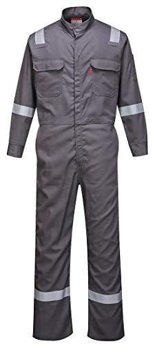 Portwest FR94 Bizflame 88/12 Iona Flame Resistant Long Sleeve Overall Fire Retardant Workwear Coverall, Gray, 3 XL ()