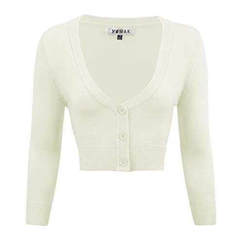 YEMAK Women's Cropped 3/4 Sleeve Bolero Button Down Cardigan Sweater CO129-IVR-XL Ivory