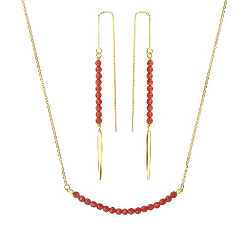 OKIKO Beaded Birthstone Jewerly Set Drop Earrings Bar Silver Necklace Genuine Gemstone Gift