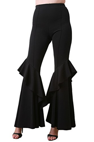 COCOLEGGINGS Womens Elastic Waist Ruffle Hem Stretchy Flared Trousers Black XL -