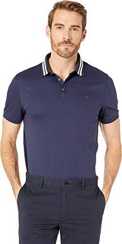 Calvin Klein Men's Short Sleeve Contrast Striped Collar Three-Button Polo Marin Mist - Calvin Klein Striped Shirt Polo