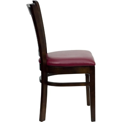 Flash Furniture HERCULES Series Vertical Slat Back Mahogany Wood Restaurant Chair - Burgundy Vinyl Seat