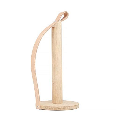 Household Paper Towel Holder Solid Beech Wood Vertical Punch-free Kitchen Paper Towel Holder, Oil-absorbing Tissue Rack With Leather Hook For Dinning Room Hotel Bar Farmhouse Oldtown For Bathroom Kitc