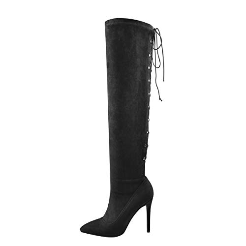 Onlymaker Women's Pointy Toe Cut Out Lace Up Back Knee High Boots Stiletto Heel Long Hollow Boots