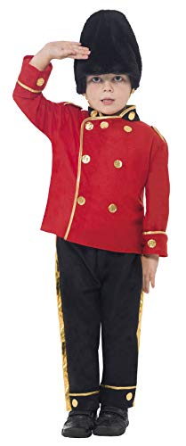 Smiffys Children's Busby Guard Boy Costume, Top, Trousers and Hat, Ages 4-6, Size: Small, Color: Red and Black, 26859