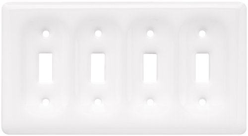 Brainerd 64494 Ceramic Quad Switch Wall Plate / Switch Plate / Cover, (Bulldogs White Ceramic)