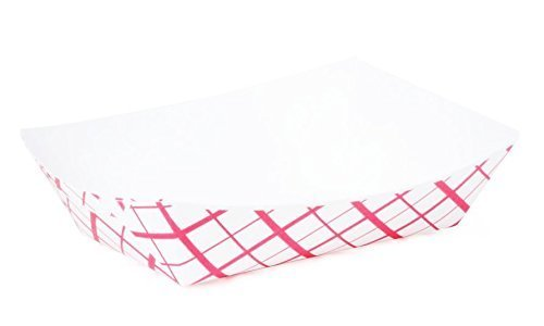 Large (2 Lb.) Red Plaid Paper Food Tray   25 Ct (Red Tray Plaid Food Paper)