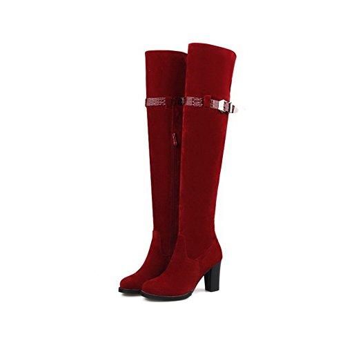 AllhqFashion Damen Mittler Absatz Blend-Materialien Rein Reißverschluss Rund Zehe Stiefel, Weinrot, 42